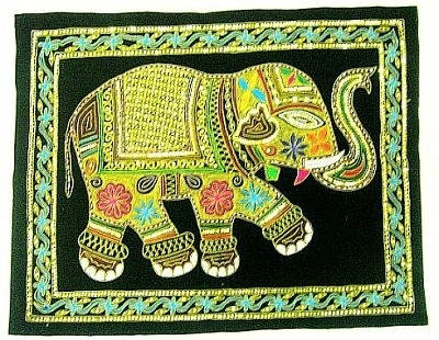Golden Thread Work Handcrafted Handmade Elephant Wall Hangings On Throughout Elephant Fabric Wall Art (Image 7 of 15)