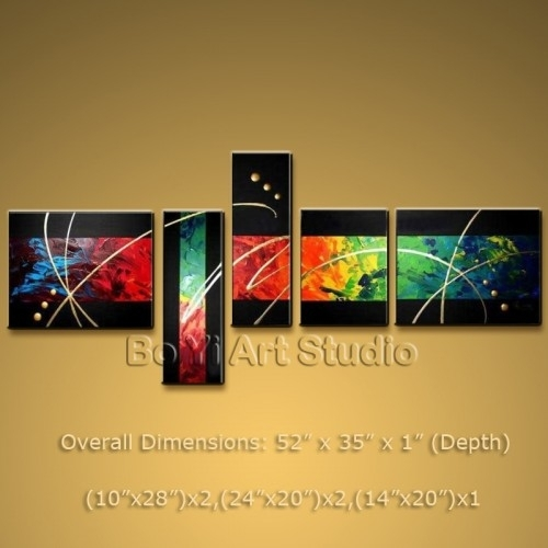 Gorgeous Colorful Abstract Modern Oil Painting Canvas Wall Art In Abstract Oil Painting Wall Art (Image 8 of 15)