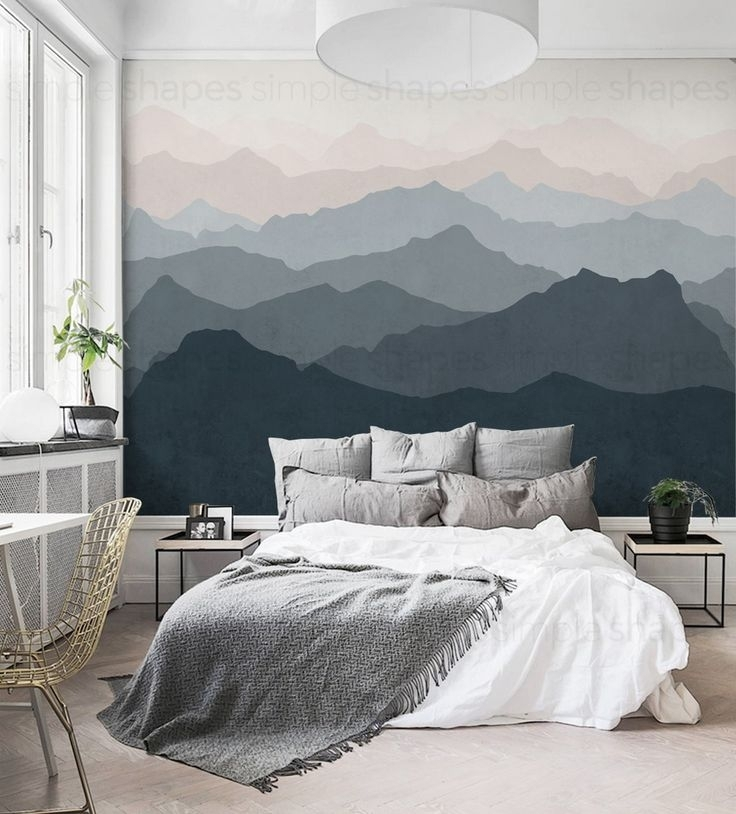 Gradient Mountain Scenery Peel And Stick Wallpaper, Scandinavian Intended For Fabric Wall Art Above Bed (Image 7 of 15)