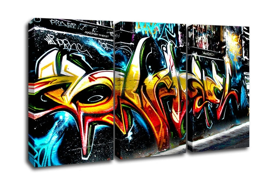 Graffiti Abstract Art Urban 3 Panel Canvas 3 Panel Set Canvas With Regard To Graffiti Canvas Wall Art (Image 5 of 15)