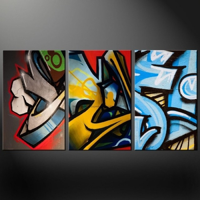 Graffiti Set Of Three Canvas S Picture Wall Art Oil Paintings Intended For Graffiti Canvas Wall Art (View 3 of 15)