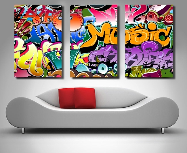 Graffiti Street Art Canvas Wall Print Triptych Set Within Graffiti Canvas Wall Art (Image 7 of 15)