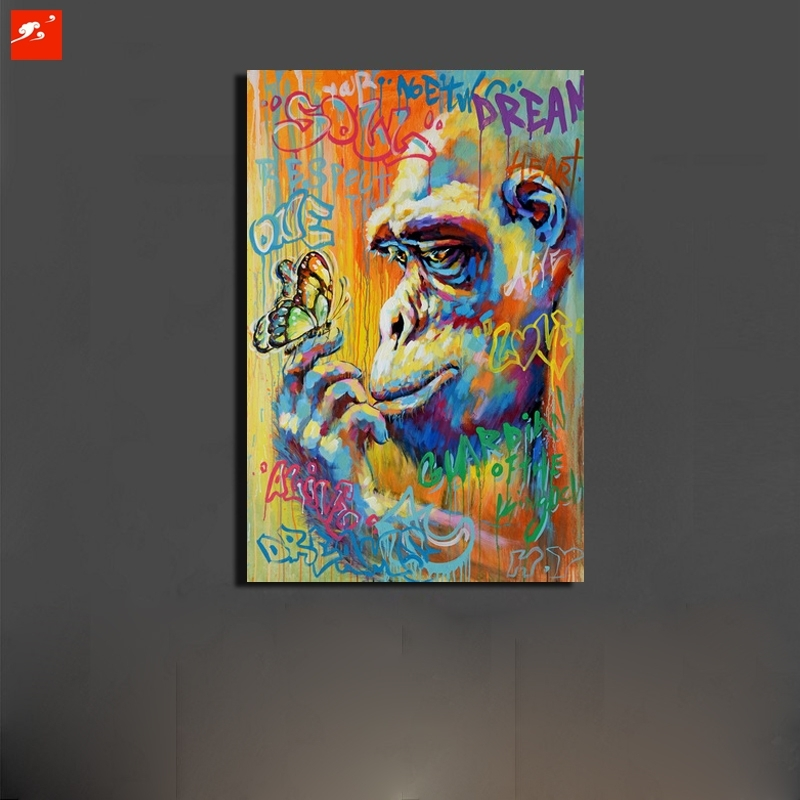 Graffiti Street Art Monkey Gorrila Canvas 50% Oil Painting Home Within Graffiti Canvas Wall Art (View 4 of 15)