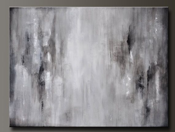 Graphite Gray – 40 X 30 – Abstract Acrylic Painting – Huge Intended For Gray Abstract Wall Art (Image 4 of 17)