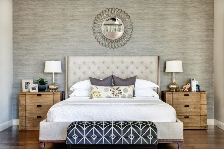 Gray Accent Wall – Transitional – Bedroom – J And J Design Group For Wall Accents Behind Bed (View 11 of 15)