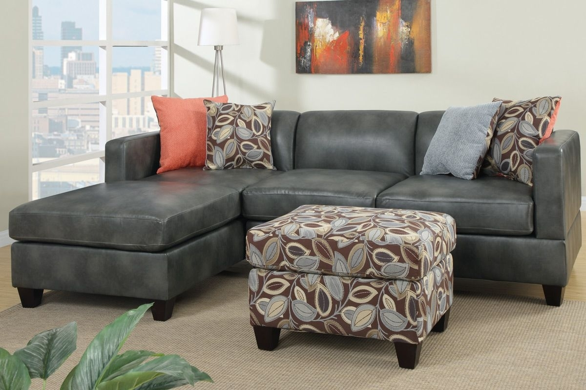 Gray Faux Leather Sectional Sofa With Ottoman Ideas – Howiezine Throughout Leather Sectional Sofas With Ottoman (View 7 of 10)