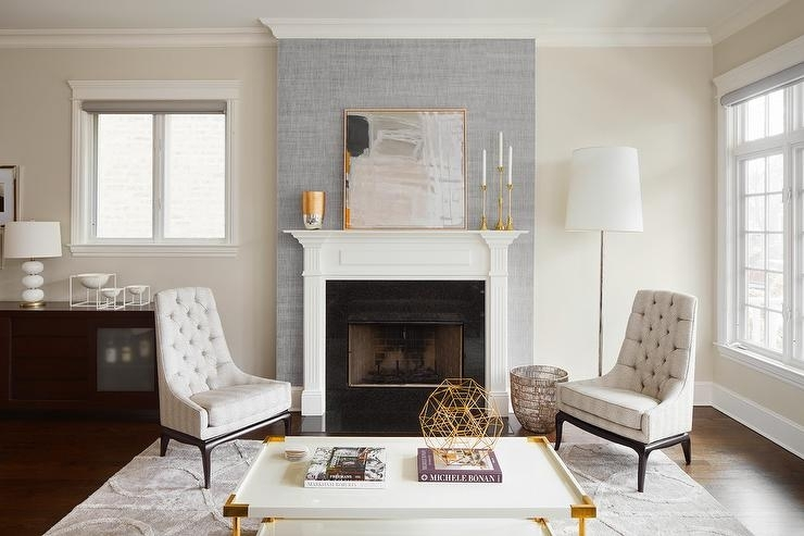Gray Fireplace Wall With White Mantel – Contemporary – Living Room With Regard To Wall Accents Over Fireplace (View 7 of 15)