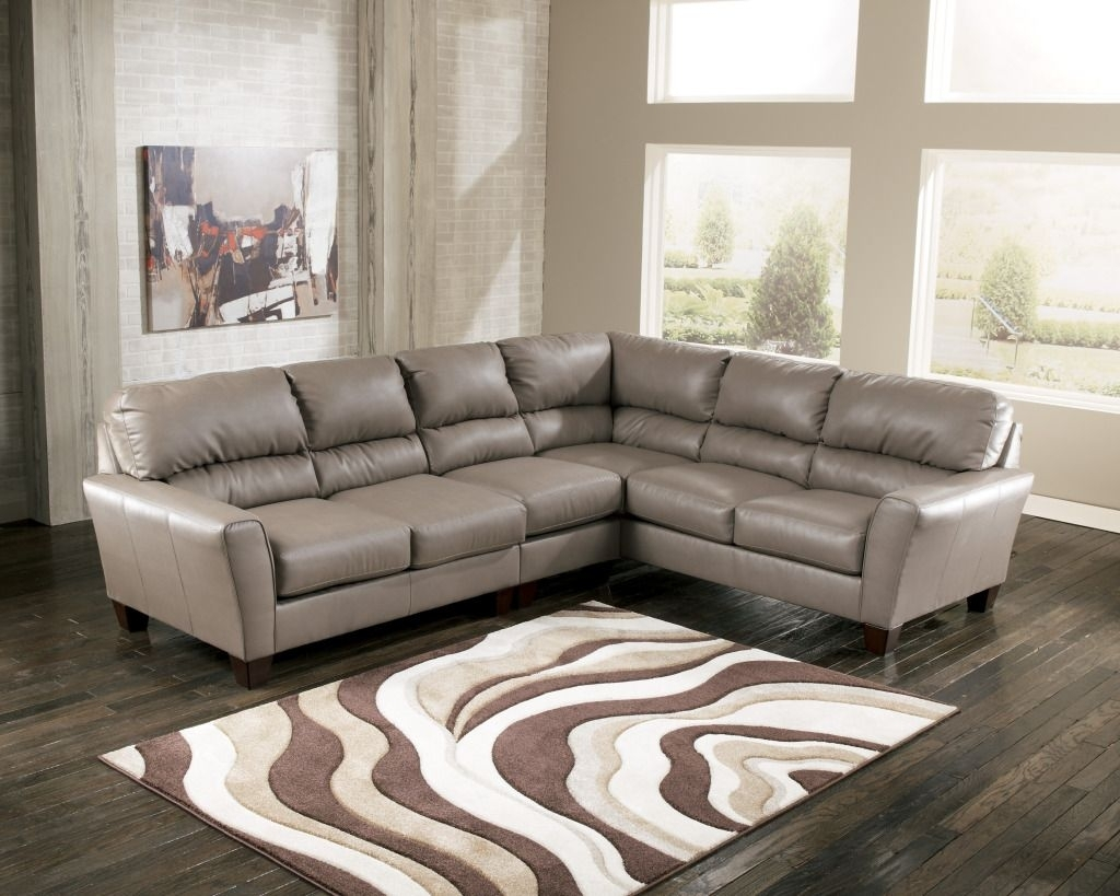Gray Sectionals On Sale | Ashley Gray Leather Sectional $ (Image 6 of 10)