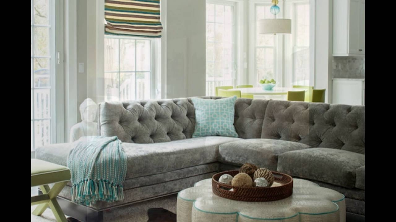 Gray Velvet Sectional Sofa For Living Room – Youtube With Regard To Velvet Sectional Sofas (View 2 of 10)