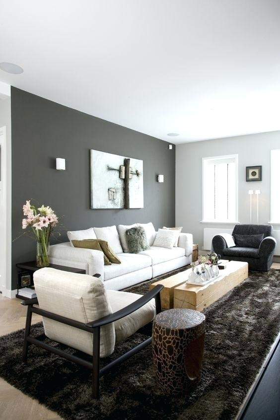Gray Wall Color Dark Grey Accent Wall And Light Grey Other Walls With Neutral Color Wall Accents (View 8 of 15)