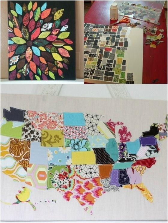 Great Ways To Utilize Fabric Scraps. Wall Art, Key Fobs, Wreaths Regarding Fabric Decoupage Wall Art (Photo 4 of 15)