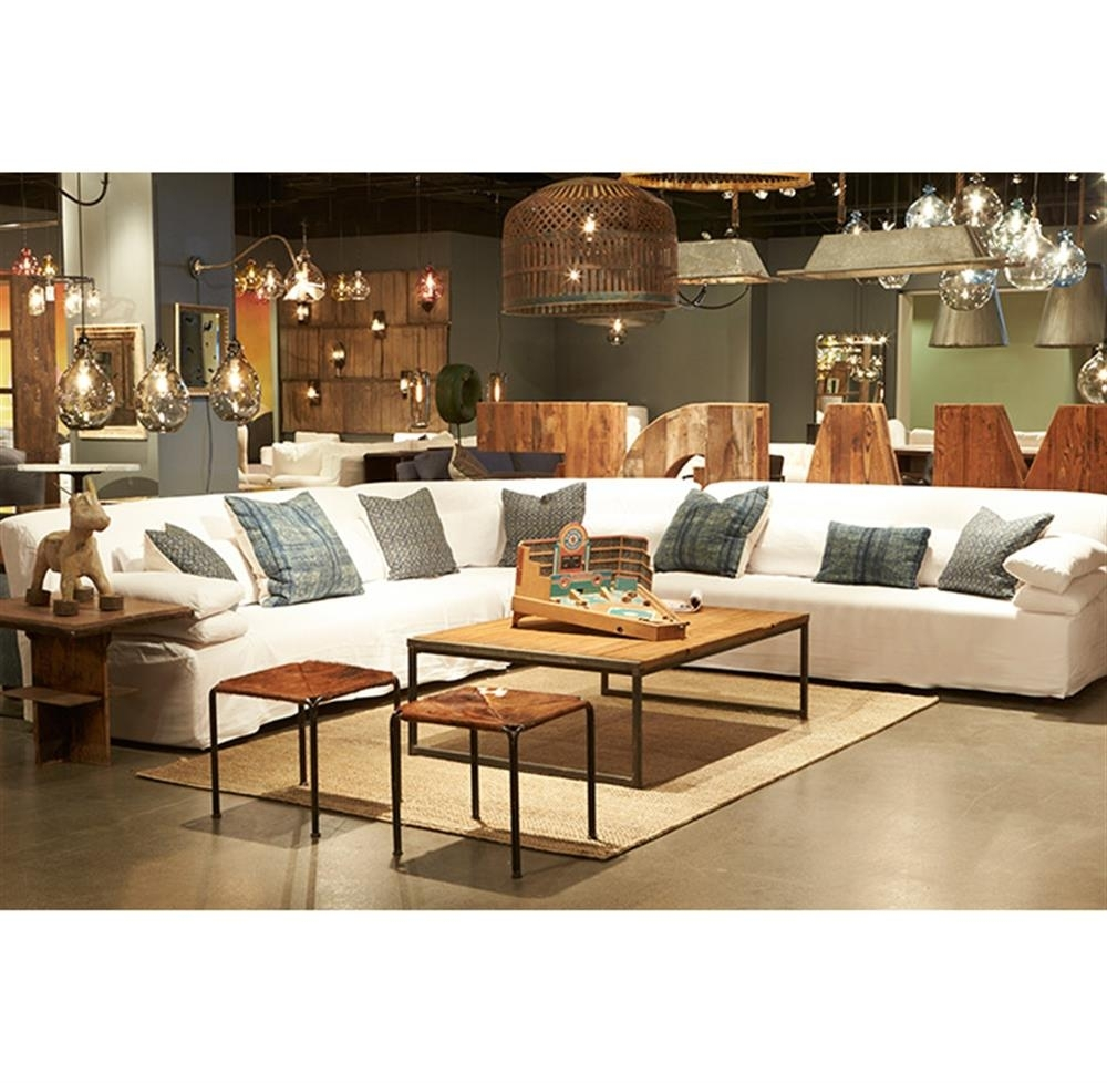 Grecko Feather Down Modern Coastal White Slipcover Sectional Sofa With Regard To Down Feather Sectional Sofas (View 6 of 10)