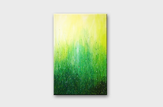 Green Acrylic Abstract Art Acrylic Paintings Original Wall Art Within Abstract Nature Wall Art (View 5 of 15)
