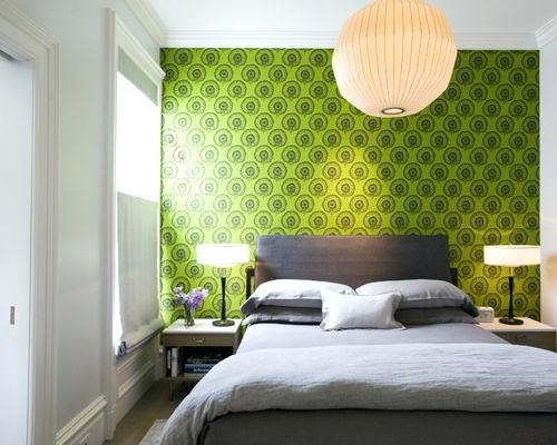 Green Bedroom Image Via Dark Green Accent Wall Bedroom With Regard To Green Room Wall Accents (Image 8 of 15)