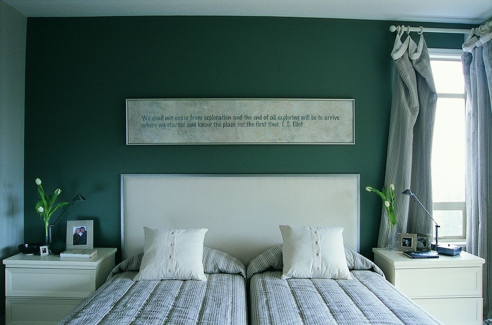 Green Bedroom Photos And Decorating Tips Pertaining To Green Room Wall Accents (Image 9 of 15)
