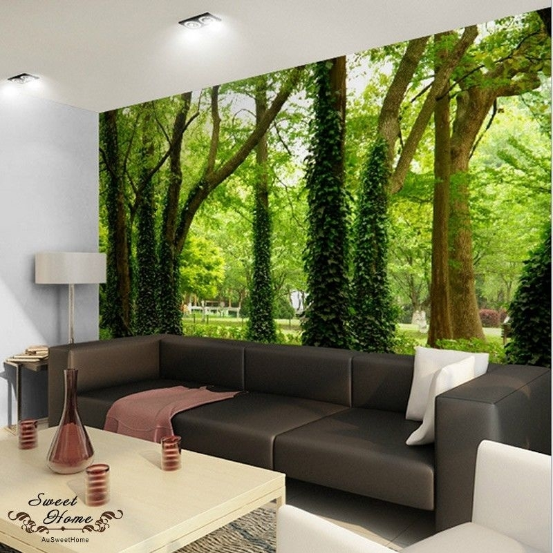 Green Forest Nature Landscape Wall Paper Wall Print Decal Home With Regard To Murals Wall Accents (Image 7 of 15)