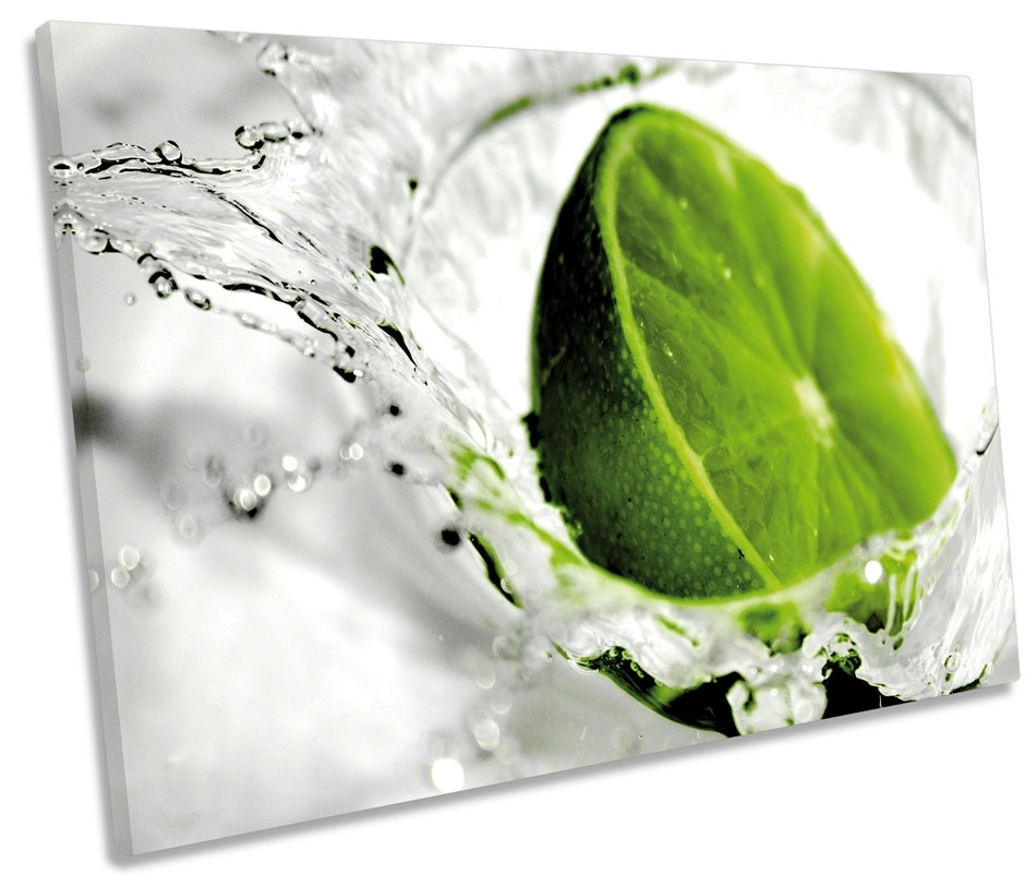 Green Lime Kitchen Splash Fruit Single Canvas Wall Art Box Framed For Lime Green Canvas Wall Art (Image 4 of 15)
