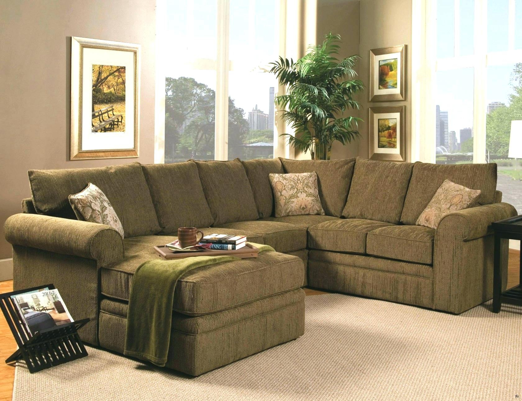 Green Sectional Couch Bay Wi Sectionals Sofas Olive Leather Pertaining To Green Sectional Sofas With Chaise (Image 5 of 10)