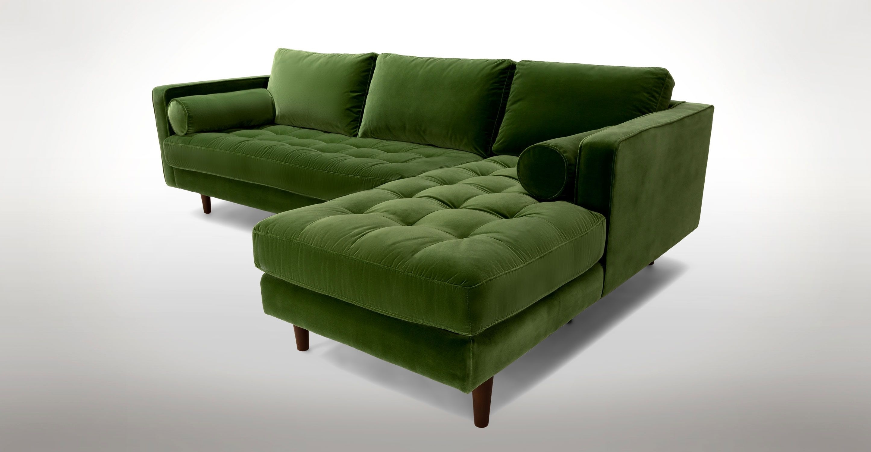 Green Velvet Right Sectional – Tufted | Article Sven Modern Pertaining To Green Sectional Sofas (View 9 of 10)