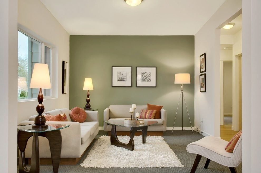 Green Wall Ideas Living Room Transitional With Cushions Pertaining To Green Wall Accents (Image 10 of 15)