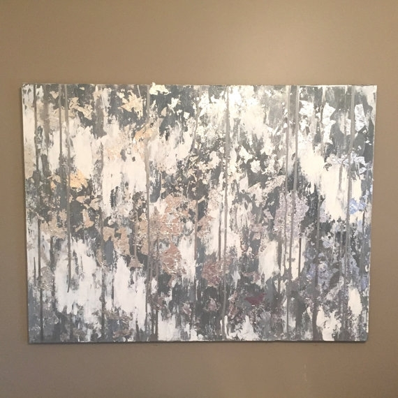 Grey Abstract Canvas Art, Silver Leaf Abstract Painting, Silver Pertaining To Gray Abstract Wall Art (Image 7 of 17)