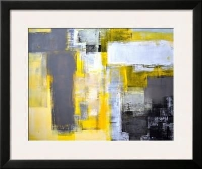 Grey And Yellow Abstract Art Painting | Framed Artwork, Find Art Throughout Abstract Framed Art Prints (View 5 of 15)