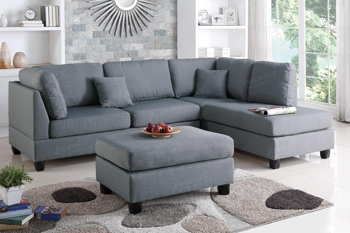 Grey Fabric Sectional Sofa And Ottoman – Steal A Sofa Furniture Within Sofas With Ottoman (View 7 of 10)
