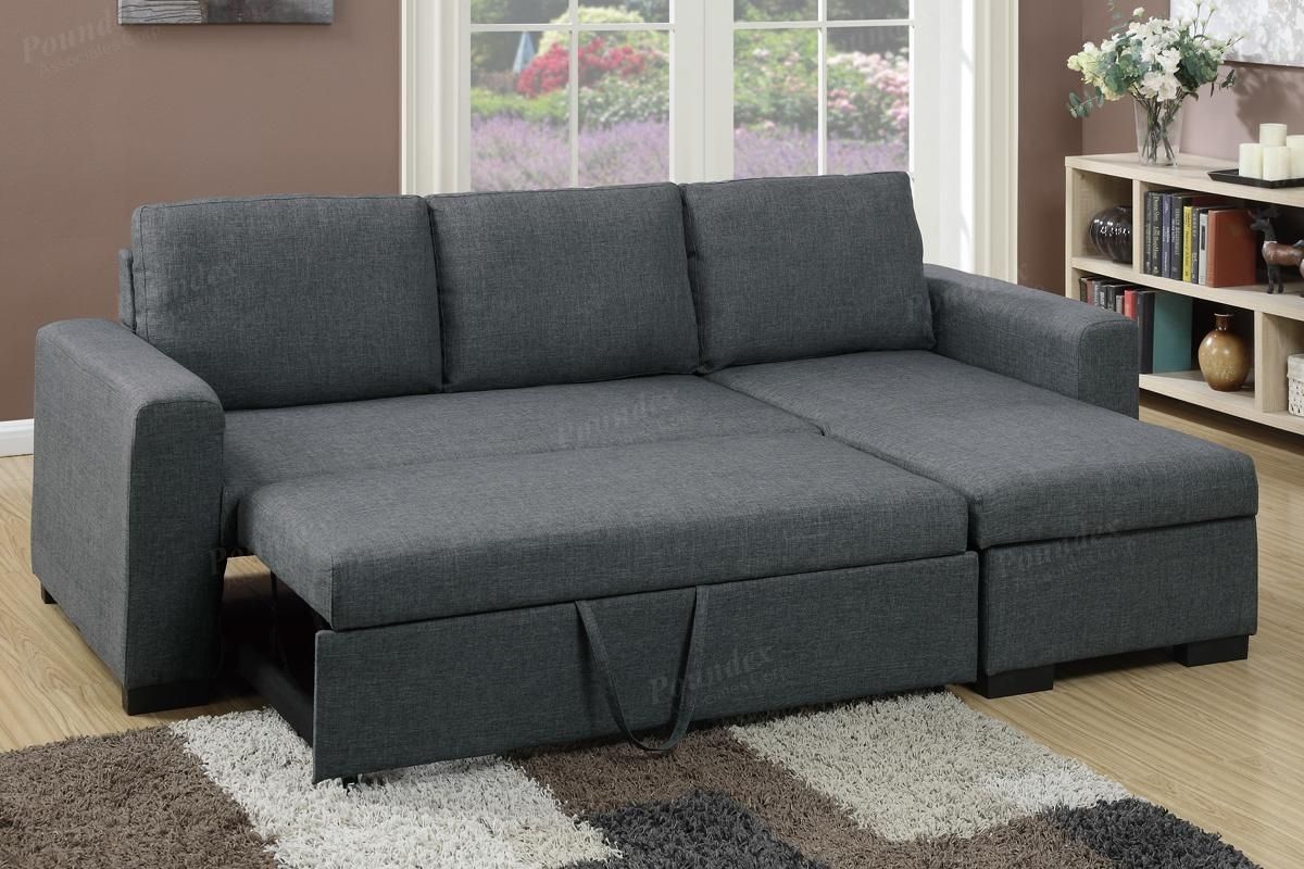 Grey Fabric Sectional Sofa Bed – Steal A Sofa Furniture Outlet Los With Sectional Sofas That Turn Into Beds (View 4 of 10)