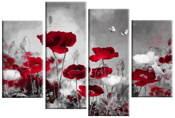 Grey Field Poppies Floral 4 Panel Canvas Wall Art 40 Inch 101Cm Within Red Flowers Canvas Wall Art (View 7 of 15)