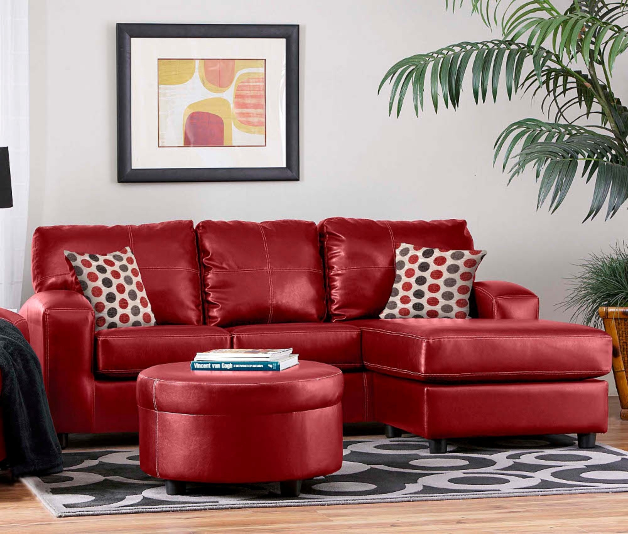 Grey Living Room Red Couch Imanada Leather Sectional Sofa With Pertaining To Red Leather Sectional Sofas With Ottoman (Image 5 of 10)