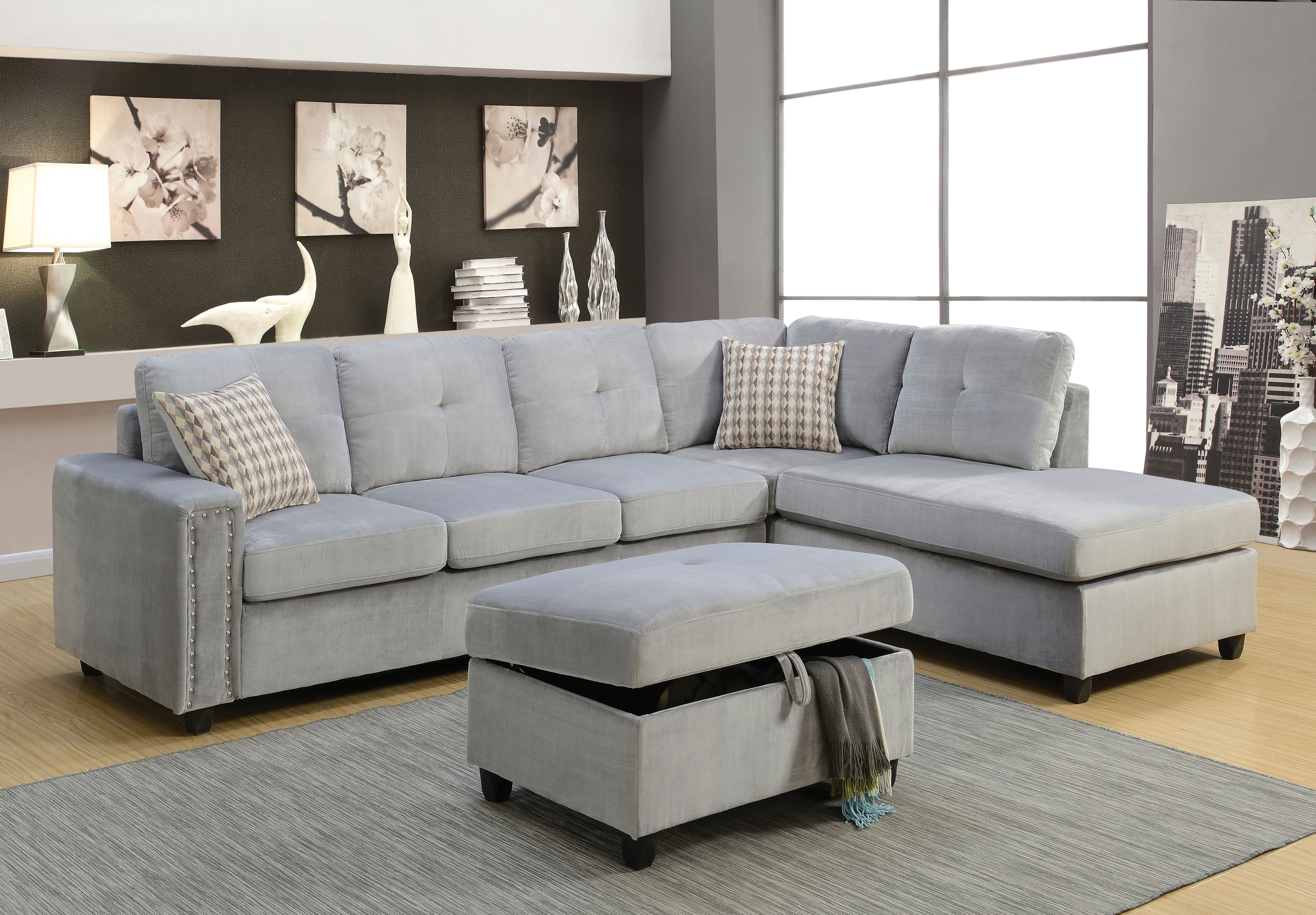 Grey Sectional Sofas Sofa Belville And Ottoman Leons Light Canada Pertaining To Light Grey Sectional Sofas (Image 5 of 10)