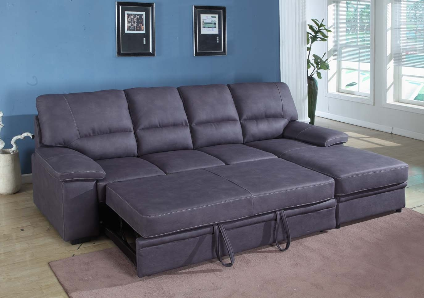 Grey Sleeper Sectional Sofa | Houston Mattress King Regarding Sectional Sofas With Sleeper (View 9 of 10)