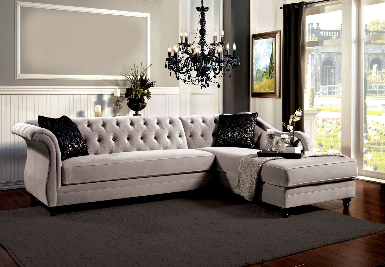 Grey Vintage Tufted Sectional Sofa Intended For Tufted Sectional Sofas (Image 4 of 10)