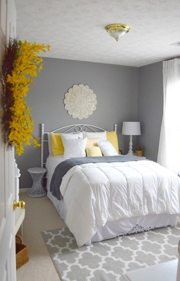 Guest Bedroom – Gray, White And Yellow Guest Bedroom   Frugal With Regard To Wall Accents For Yellow Room (Image 8 of 15)