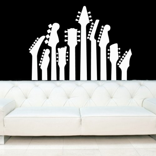 Guitar Necks, Electric Guitars Decal, Vinyl, Sticker, Wall, Home Regarding Vinyl Wall Accents (Image 7 of 15)