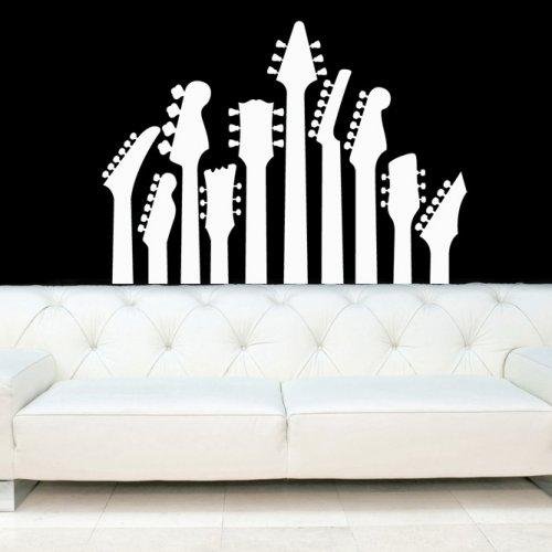 Guitar Necks, Electric Guitars Decal, Vinyl, Sticker, Wall, Home Regarding Vinyl Wall Accents (View 6 of 15)
