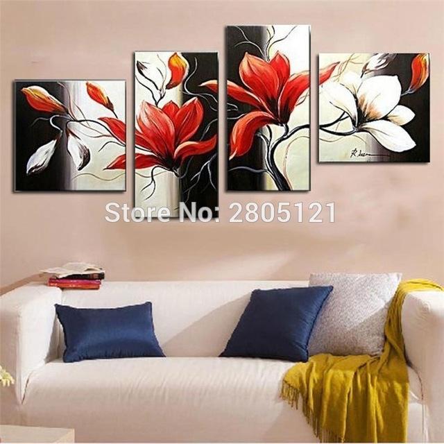 Hand Made 4 Piece Canvas Wall Art Modern Black Red Flower Oil Regarding Red Flowers Canvas Wall Art (View 10 of 15)
