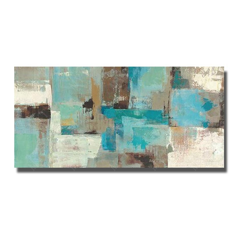 Hand Made Abstract Oil Painting On Canvas Wall Pictures For Living For Blue And Brown Canvas Wall Art (View 14 of 15)