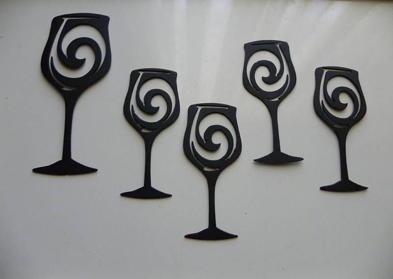 Hand Made Wine Glasses Set Of 5 Metal Wall Art Wall Accent Home Intended For Custom Wall Accents (View 9 of 15)