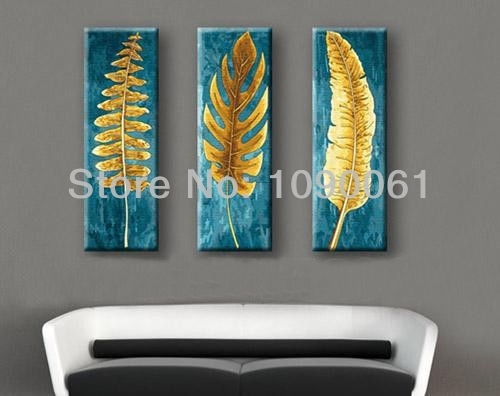 Hand Painted 3 Piece Canvas Wall Art Abstract Modern Gold Leaves Pertaining To Leaves Canvas Wall Art (View 2 of 15)