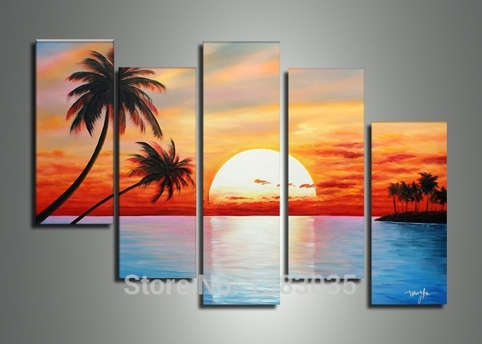 Hand Painted 5 Piece Sailing Boats Landscape Painting On Canvas Within Abstract Landscape Wall Art (View 5 of 15)