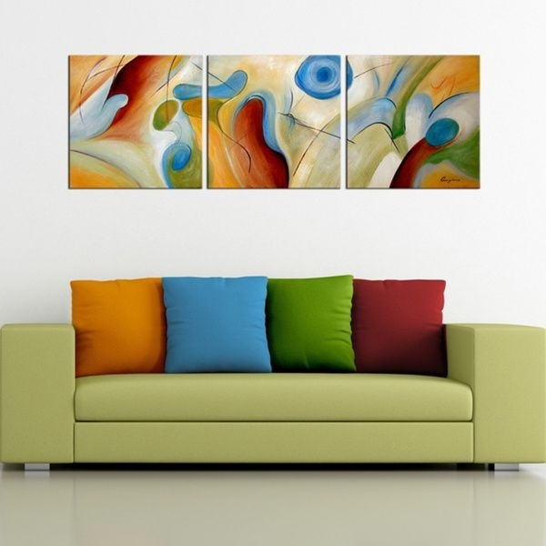 Hand Painted Abstract' 3 Piece Gallery Wrapped Canvas Art Set Inside Overstock Abstract Wall Art (View 4 of 15)