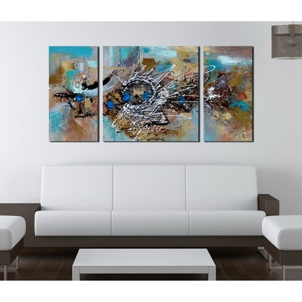 Hand Painted 'abstract 491' 3 Piece Gallery Wrapped Canvas Art Set Inside Overstock Abstract Wall Art (Image 6 of 15)