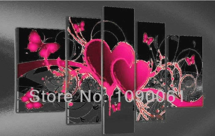 Hand Painted Abstract Heart Paintings Butterfly Decoration Modern Pertaining To Pink Canvas Wall Art (Image 5 of 15)