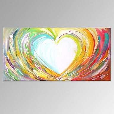 Hand Painted Abstract Horizontal, Modern Canvas Oil Painting Home Throughout Abstract Heart Wall Art (View 10 of 15)
