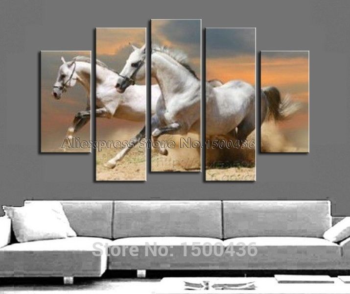 Hand Painted Abstract Horse Oil Painting Canvas White Animal Pertaining To Horses Canvas Wall Art (Image 6 of 15)