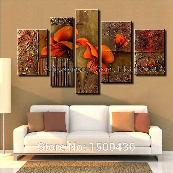 Hand Painted Abstract Orange Flowers Canvas Painting Oil Modern 5 Inside Abstract Orange Wall Art (View 12 of 15)