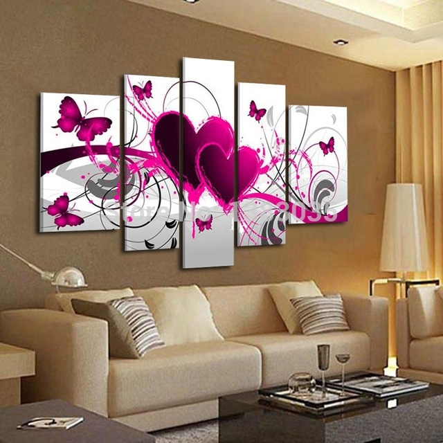 Hand Painted Abstract Pink Canvas Painting Butterfly Heart Oil Within Abstract Heart Wall Art (View 3 of 15)