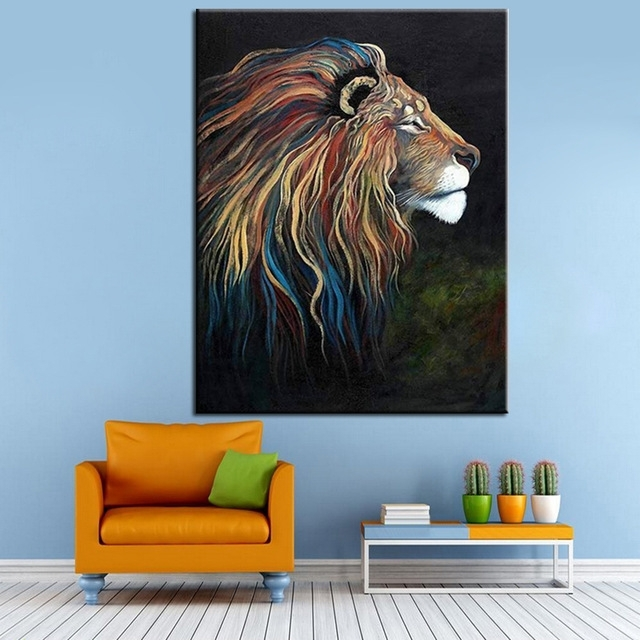 Hand Painted Acrylic Painting On Canvas Colorful Lion Canvas Oil For Abstract Lion Wall Art (Image 8 of 15)