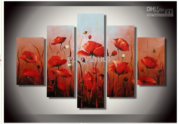 Hand-Painted Artwork The Bright Red Flowers Wall Decor Landscape inside Red Flowers Canvas Wall Art